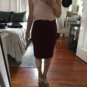 Ann Taylor burgundy pencil skirt